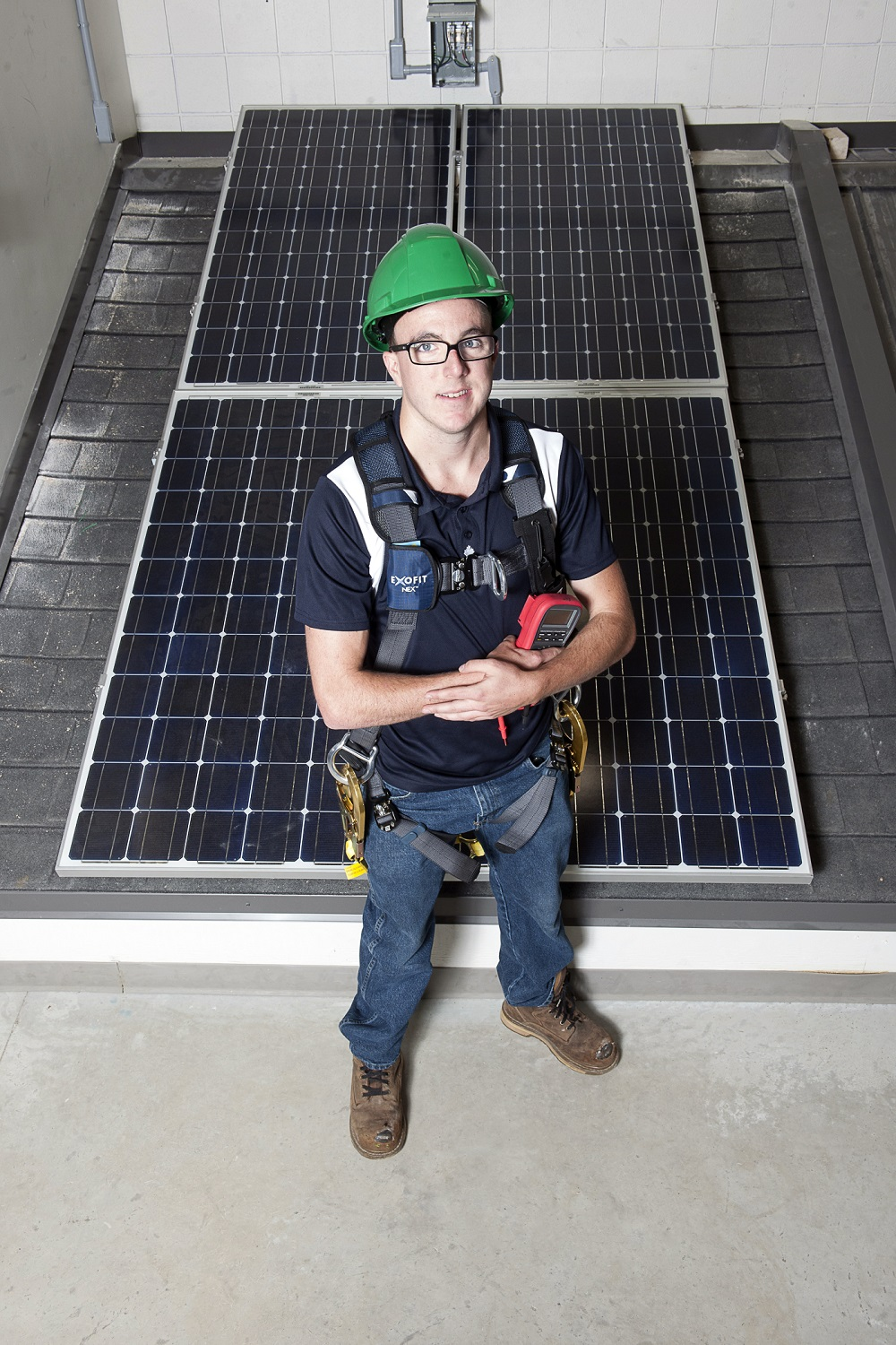 Student and solar panel