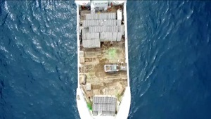 Boat carrying concrete ties for artificial reef