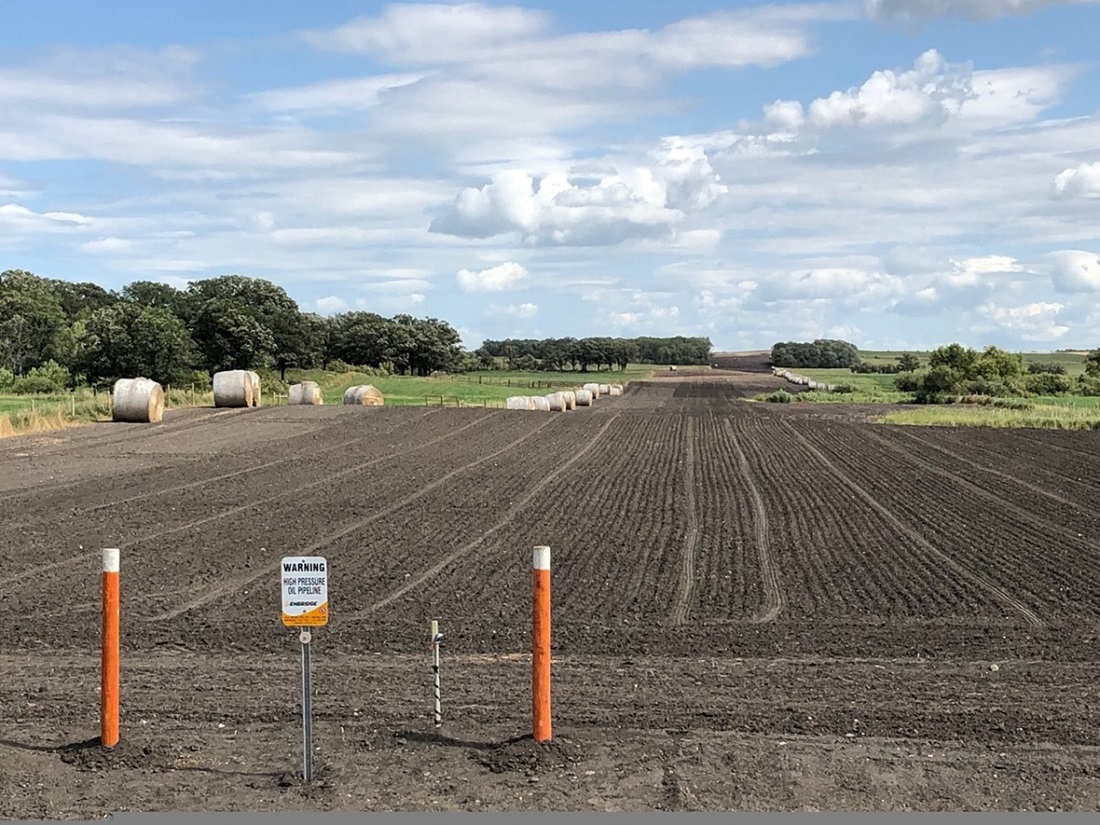 Pipeline ROW prepared for straw