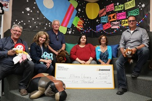Community cheque presentation on Canadian prairies