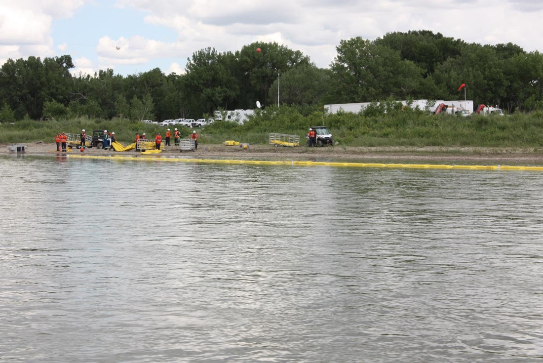 Emergency response drill on a river
