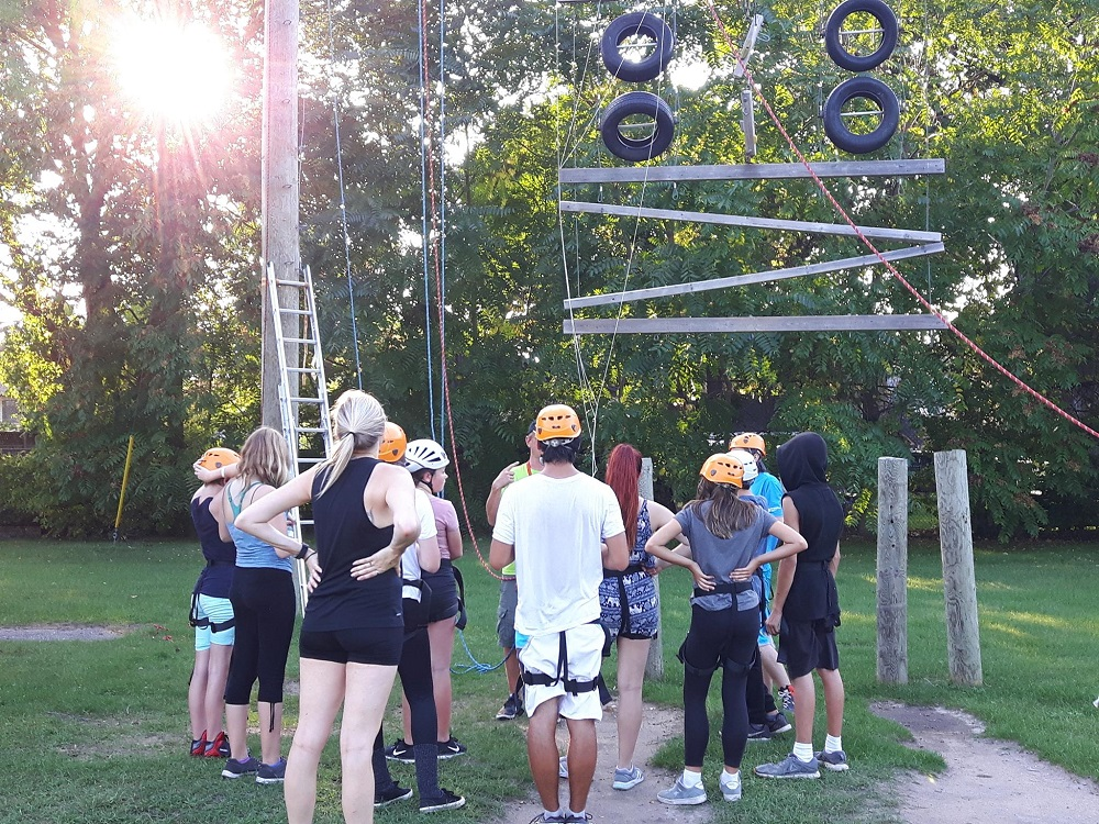 teens on rope course