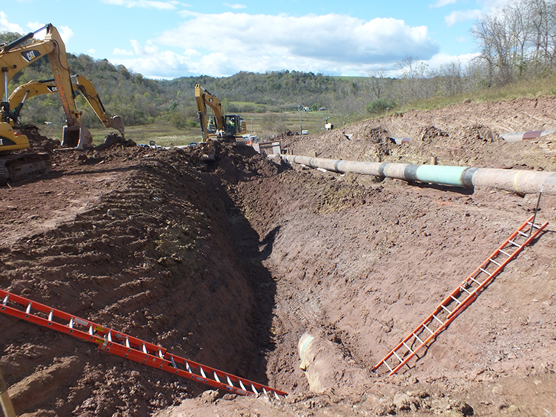 Excavation of a pipeline for inspection