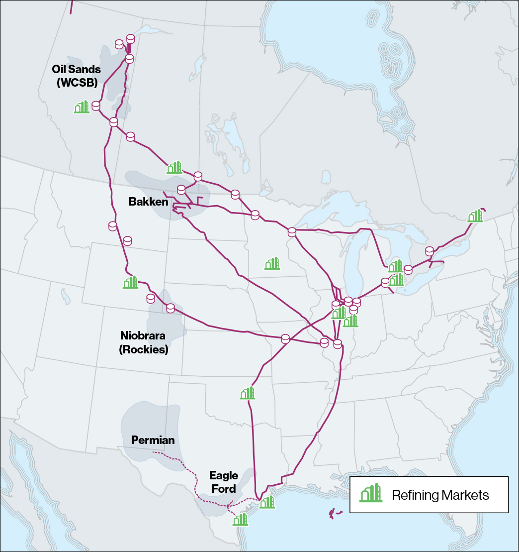 Map showing Enbridge pipelines and hydrocarbon production basins