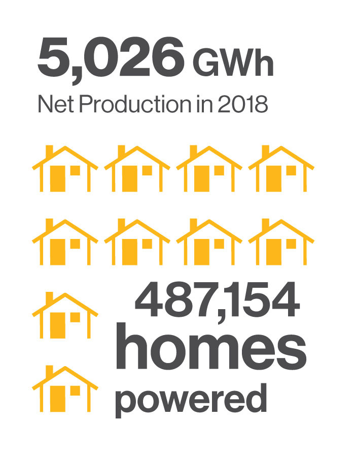 5026 GWh net production in 2018. 487154 homes powered
